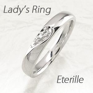 ダイヤモンド リング 指輪 レディース シンプル 甲丸 ハート 地金 プラチナ マリッジダイヤモンド リング 指輪 結婚指輪