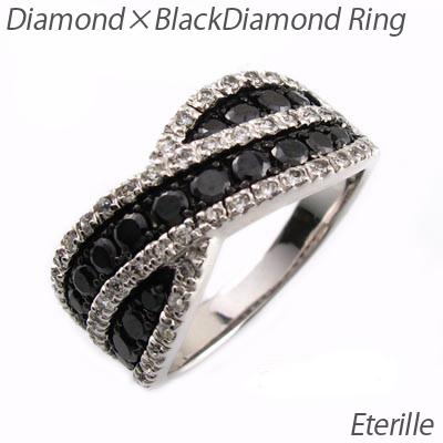 ブラックダイヤモンド リング 指輪 レディース パヴェ ウェーブ クロス コンビ プラチナ