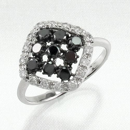 ブラックダイヤモンド リング 指輪 レディース スクエア ゴージャス K10 10k 10金 ゴールド