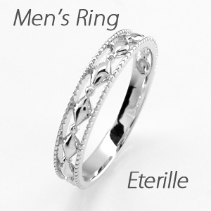 ダイヤモンド リング 指輪 メンズ アンティーク ミル打ち 透かし 地金 マリッジダイヤモンド リング 結婚指輪 ゴールド 10k K10 10金