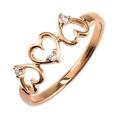 ダイヤモンド リング 指輪 レディース ハート ハートモチーフ シンプル k18 18k 18金 ゴールド