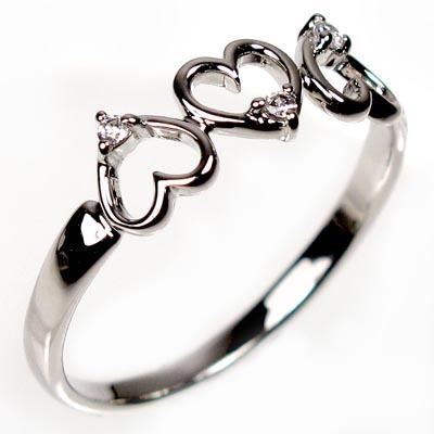 ダイヤモンド リング 指輪 レディース ハート ハートモチーフ シンプル プラチナ