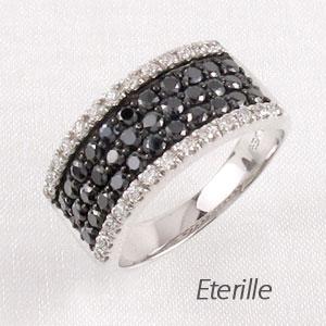 ブラックダイヤモンド リング 指輪 レディース パヴェ スクエア ゴージャス プラチナ