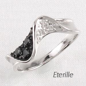 ブラックダイヤモンド リング 指輪 レディース カーブ ウェーブ 波 プラチナ