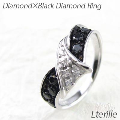 ブラックダイヤモンド リング 指輪 レディース リボン ウェーブ コンビ プラチナ