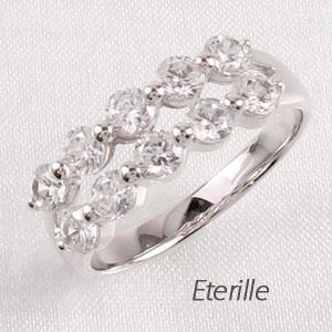 エタニティリング プラチナ ダイヤモンド ダイヤ レディース 指輪 2連 ダブル ハーフ スイート 10 メモリアル 豪華 1.0カラット