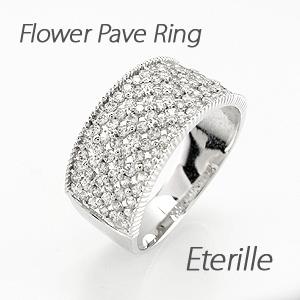ダイヤモンド パヴェ リング 指輪 レディース アンティーク ミル打ち フラワー 花 透かし プラチナ 1.0カラット