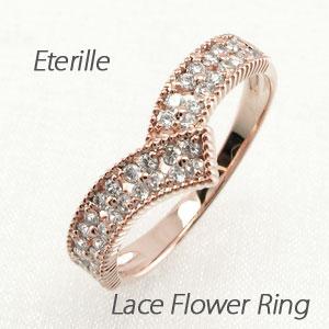 ブラックダイヤモンド リング 指輪 レディース パヴェ V字 Vライン アンティーク ミル打ち フラワー 花 透かし プラチナ