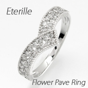 ダイヤモンド パヴェ リング 指輪 レディース V字 Vライン アンティーク ミル打ち フラワー 花 透かし プラチナ