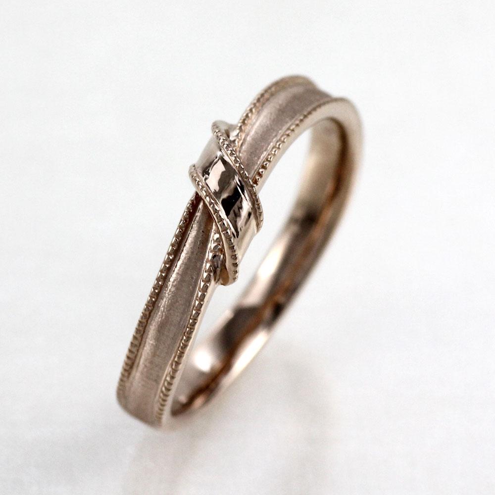 ダイヤモンド リング 指輪 メンズ リボン アンティーク ミル打ち ツヤ消し マット マリッジダイヤモンド リング 結婚指輪 ゴールド 18k k18 18金