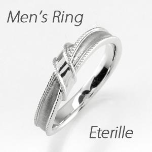 ダイヤモンド リング 指輪 メンズ リボン アンティーク ミル打ち ツヤ消し マット マリッジダイヤモンド リング 結婚指輪 プラチナ pt900