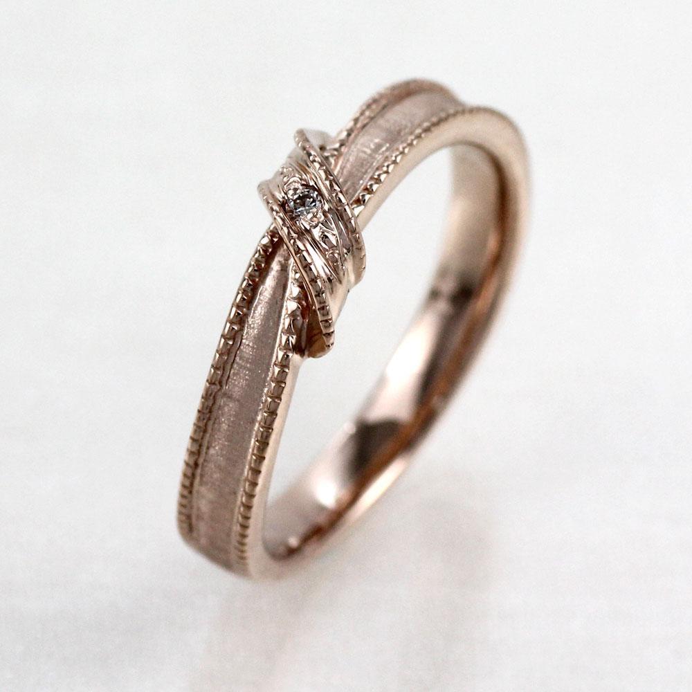 リング ダイヤモンド 指輪 レディース リボン アンティーク ミル打ち ツヤ消し マットリング ダイヤモンド 指輪 k18 18k 18金 ゴールド マリッジリング ダイヤモンド 指輪 結婚指輪