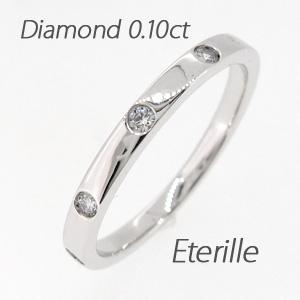 リング プラチナ ダイヤモンド 指輪 レディース シンプル ストレート 平打ち プラチナ 0.1カラット 重ねづけ
