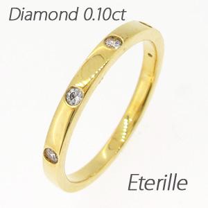 リング ダイヤモンド 指輪 レディース シンプル ストレート 平打ちk18 18k 18金 ゴールド 0.1カラット 重ねづけ