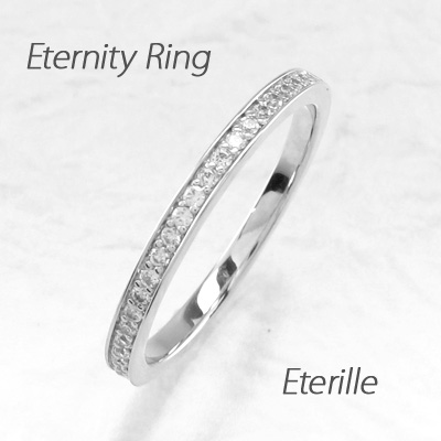 エタニティリング プラチナ ダイヤモンド ダイヤ レディース 指輪 ハーフエタニティ スレンダーアーム ストレート シンプル 0.15カラット 重ねづけ