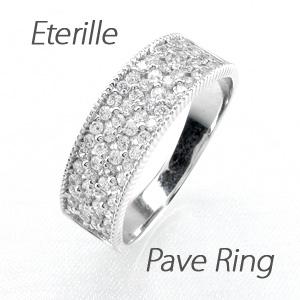 ダイヤモンド パヴェ リング 指輪 レディース アンティーク ミル打ち フラワー 花 透かし プラチナ