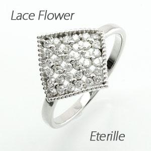 ダイヤモンド パヴェ リング 指輪 レディース フラワー 花 アンティーク ミル打ち 透かし プラチナ 0.3カラット