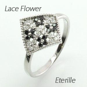 ブラックダイヤモンド リング 指輪 レディース パヴェ フラワー 花 アンティーク ミル打ち 透かし プラチナ 0.3カラット