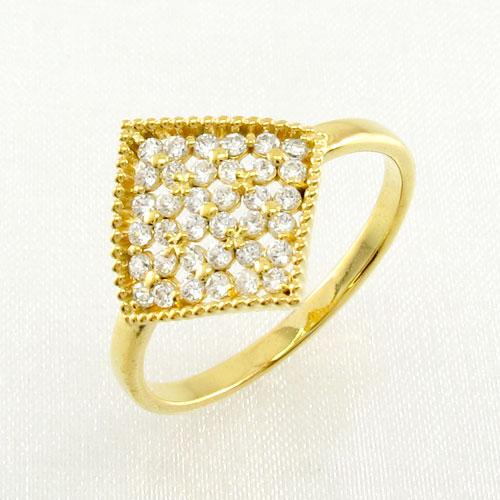 ダイヤモンド パヴェ リング 指輪 レディース フラワー 花 アンティーク ミル打ち 透かし k18 18k 18金 ゴールド 0.3カラット