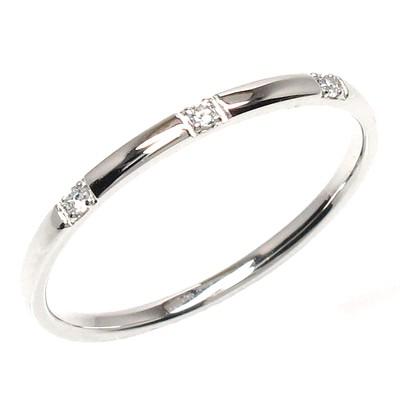 リング ダイヤモンド 指輪 レディース スリーストーン シンプル スレンダーアーム K10 10k 10金 ゴールド 甲丸 重ねづけ