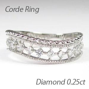 リング プラチナ ダイヤモンド 指輪 レディース アンティーク ミル打ち 透かし プラチナ なわ 縄網様