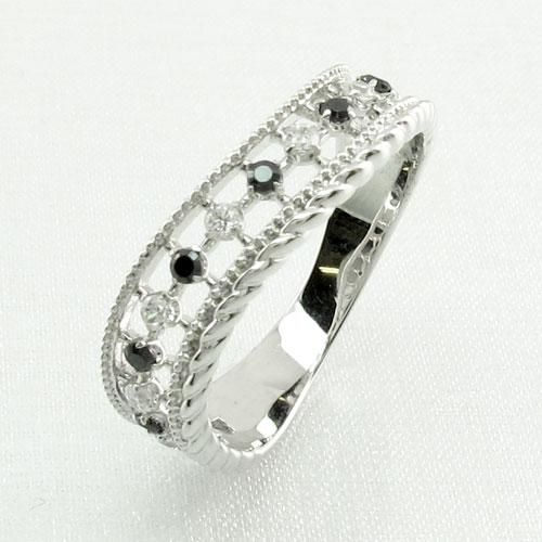 ブラックダイヤモンド リング 指輪 レディース アンティーク ミル打ち 透かし プラチナ なわ 縄網様