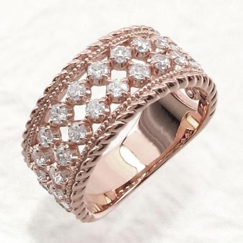 リング ダイヤモンド 指輪 レディース アンティーク ミル打ち 透かし ゴージャス k18 18k 18金 ゴールド なわ 縄網様 1.0カラット