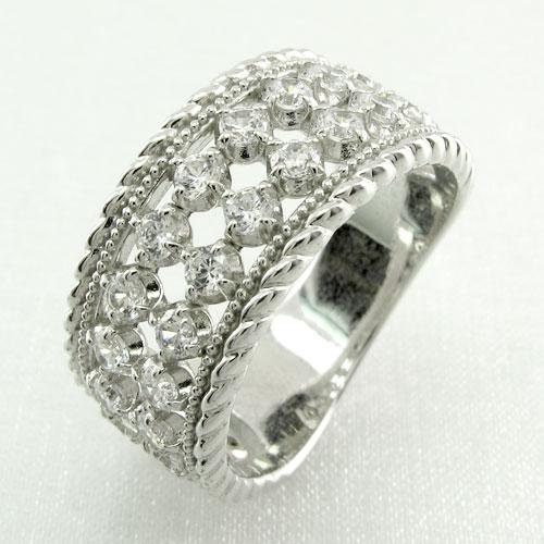 リング プラチナ ダイヤモンド 指輪 レディース アンティーク ミル打ち 透かし ゴージャス プラチナ なわ 縄網様 1.0カラット