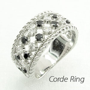 ブラックダイヤモンド リング 指輪 レディース アンティーク ミル打ち 透かし ゴージャス k18 18k 18金 ゴールド なわ 縄網様 1.0カラット