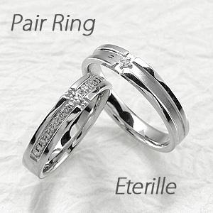 ペアリング 刻印 プラチナ ダイヤモンド 結婚指輪 マリッジリング クロス 十字架 つや消し