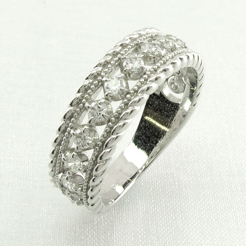 リング プラチナ ダイヤモンド 指輪 レディース アンティーク ミル打ち 透かし プラチナ なわ 縄網様 0.5カラット