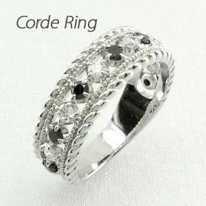 ブラックダイヤモンド リング 指輪 レディース アンティーク ミル打ち 透かし プラチナ なわ 縄網様 0.5カラット