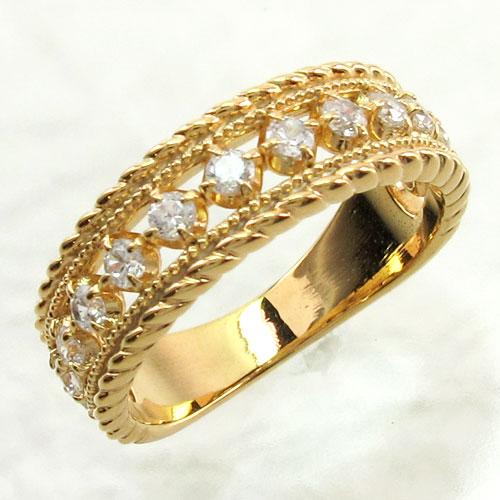 リング ダイヤモンド 指輪 レディース アンティーク ミル打ち 透かし k18 18k 18金 ゴールド なわ 縄網様 0.5カラット