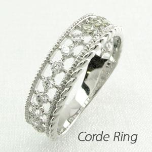 リング プラチナ ダイヤモンド 指輪 レディース アンティーク ミル打ち 透かし プラチナ なわ 縄網様 0.2カラット