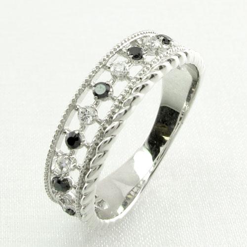 ブラックダイヤモンド リング 指輪 レディース アンティーク ミル打ち 透かし プラチナ なわ 縄網様 0.2カラット