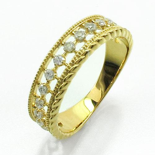リング ダイヤモンド 指輪 レディース アンティーク ミル打ち 透かし k18 18k 18金 ゴールド なわ 縄網様 0.2カラット