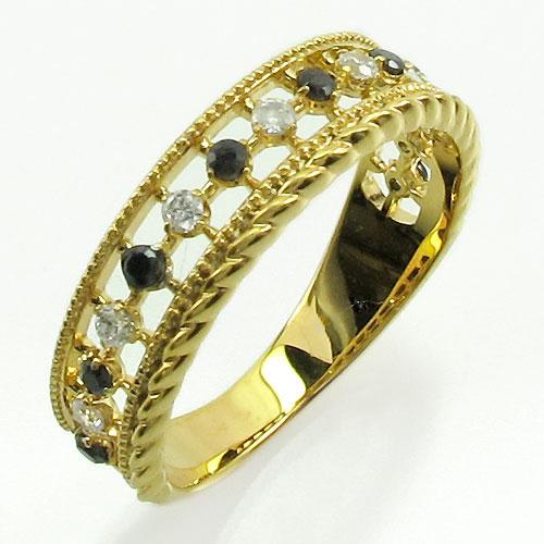 ブラックダイヤモンド リング 指輪 レディース アンティーク ミル打ち 透かし k18 18k 18金 ゴールド なわ 縄網様 0.2カラット