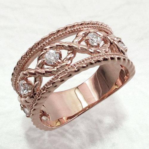 リング ダイヤモンド 指輪 レディース アンティーク ミル打ち 透かし k18 18k 18金 ゴールド なわ 縄網様 ゴージャス 0.3カラット
