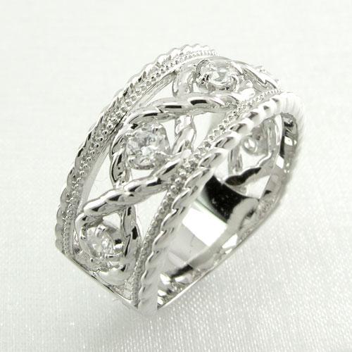 リング プラチナ ダイヤモンド 指輪 レディース アンティーク ミル打ち 透かし プラチナ なわ 縄網様 ゴージャス 0.3カラット