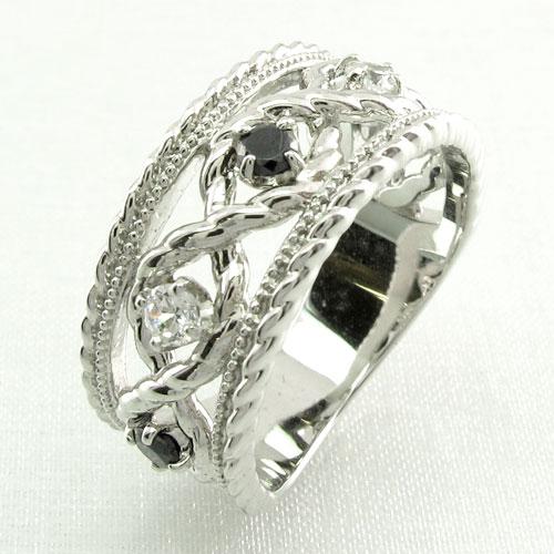 ブラックダイヤモンド リング 指輪 レディース アンティーク ミル打ち 透かし k18 18k 18金 ゴールド なわ 縄網様 ゴージャス 0.3カラット