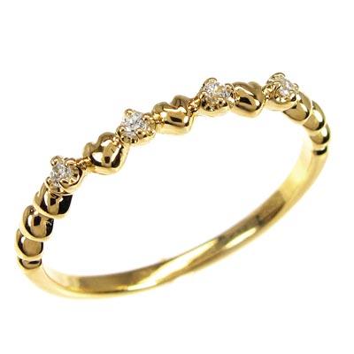 リング ダイヤモンド 指輪 レディース ハート ハートモチーフ シンプル k18 18k 18金 ゴールド