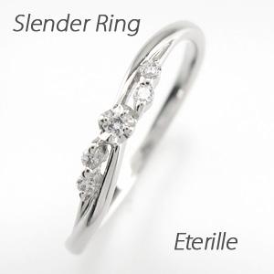 リング プラチナ ダイヤモンド 指輪 レディース スレンダー シンプル プラチナ