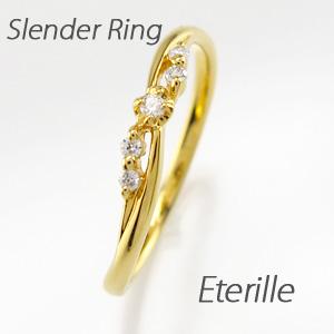 リング ダイヤモンド 指輪 レディース スレンダー シンプル k18 18k 18金 ゴールド