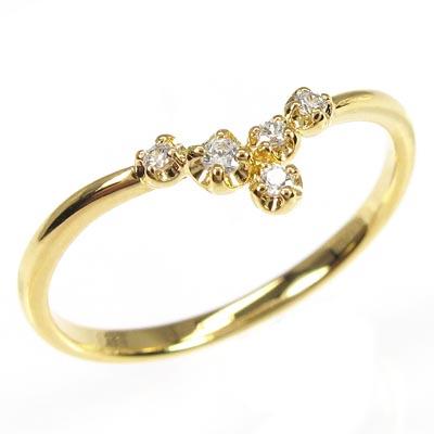 リング ダイヤモンド 指輪 レディース シンプル スレンダー V字リング ダイヤモンド 指輪 k18 18k 18金 ゴールド