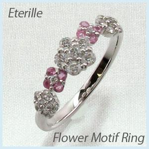 リング プラチナ ダイヤモンド 指輪 レディース ピンクサファイア フラワー モチーフ 花 プラチナ 0.5カラット