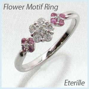 リング プラチナ ダイヤモンド 指輪 レディース ピンクサファイア フラワー モチーフ 花 プラチナ 0.3カラット