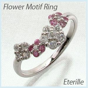 リング プラチナ ダイヤモンド 指輪 レディース ピンクサファイア フラワー モチーフ 花 プラチナ