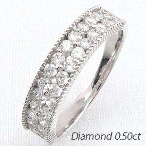 ダイヤモンド パヴェ リング 指輪 レディース フラワー 花 アンティーク ミル打ち 透かし ゴージャス プラチナ 0.5カラット