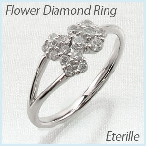 リング プラチナ ダイヤモンド 指輪 レディース フラワー モチーフ 花 プラチナ