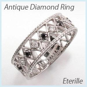 ブラックダイヤモンド リング 指輪 レディース アンティーク 透かし レース 縄 なわ プラチナ